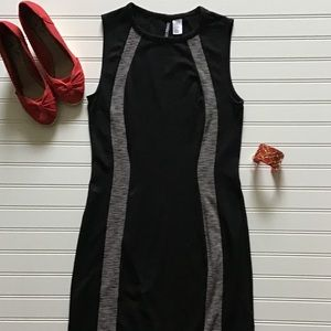 EUC Little Black Dress Striped Fitted Sleeveless 8